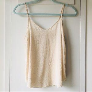 Wilfred 100% silk camisole top sz S beige floral